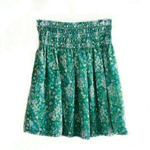 Zara Basic Size Small Green Floral Mini Skirt